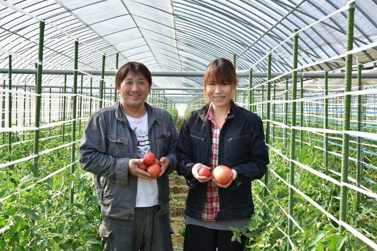 トマトを持つ農業女子