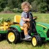 子供用おもちゃの電動トラクターが凄い!前進二速後進一速、トレーラ牽引、12V、ラジオ付き。